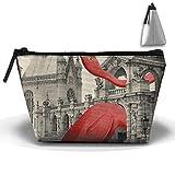 Red Flamingo Castle Multifunction Portable Pouch Trapezoidal Storage Organizer Bag