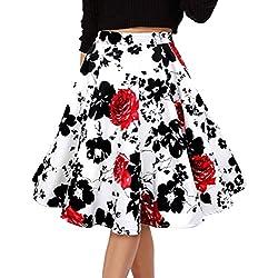 Para Mujer Vintage Floral Swing Full Circle Casual Falda Corto Retro Vestidos Blanco Flor roja XXXXL