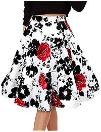 Para Mujer Vintage Floral Swing Full Circle Casual Falda Corto Retro Vestidos Blanco Flor roja XXXL