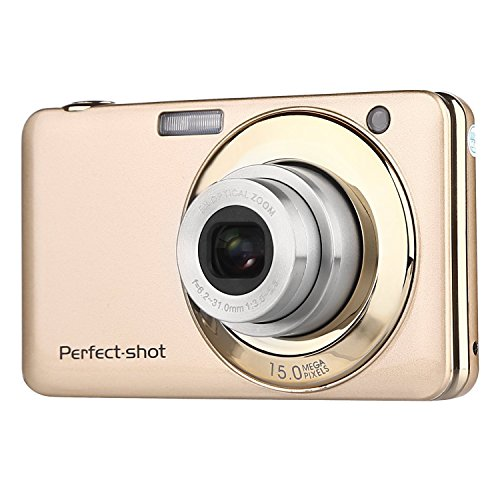 GordVE Digitalkamera Kamera kompaktkamera Videokamera Comcorder Anti-Shake Lcheln (20.0 Megapixel 2,7 Zoll Display 8X Optischer Zoom) (Gold)