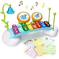 Baby-Spielzeug Xylophon für Kinder Regenbogen Xylophone Brücke mit 8 hellen bunten Taste, Klingel Glocke und Trommel,das beste Musikinstrument Spielzeug für Jungen und Mädchen