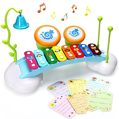hon für Kinder Regenbogen Xylophone Brücke mit 8 hellen bunten Taste, Klingel Glocke und Trommel,das beste Musikinstrument Spielzeug für Jungen und Mädchen (Kostüme Für 2 Jährige Mädchen)