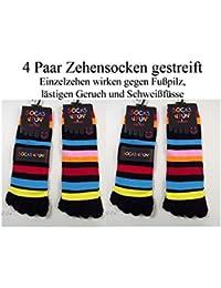 4 PAAR ZEHENSOCKEN gestreift - verschiedene Farben GRÖßE 37-42 One Size