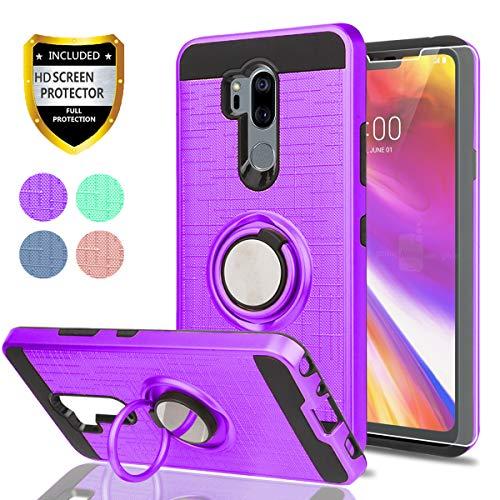 LG G7thinq Telefon Fall, LG G7Hüllen mit HD Handy Displayschutzfolie, ymhxcy 360Grad Drehbar Ring & Halterung Dual Layer beständig Back Cover für LG G72018-zh, ZH-Purple
