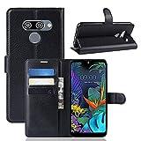 LZS Hülle für LG K50 Leder Flip-Cover Handyhülle Brieftasche mit Kartensteckplatz & Stand Magnetverschlus Kompletter Schutz LG K50 Handy Case