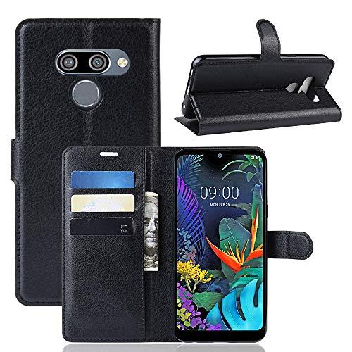 SPAK LG K50,LG Q60 Hülle,Premium Leder Geldbörse Flip Schutzhülle Cover für LG K50,LG Q60 (Schwarz)