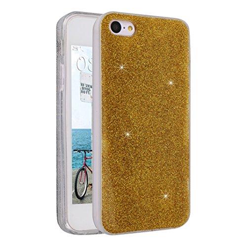 iPhone SE/5S/5 4.0 Zoll Glitter Case, iPhone SE Hülle Glitter, iPhone 5S Hülle Glitter, iPhone 5 Hülle Glitter, Moon mood® Kristall Sparkle Schutzhülle für Apple iPhone 5/5S/SE Ultra Thin Dünn Weich T Gold