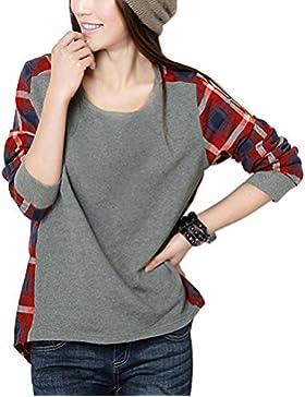Minetom Mujeres Otoño Invierno Casual Camisas Patrón De Cuadros Blusa Manga Larga Tapas