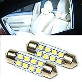 Ampoule led voiture interieur plafonnier coffre 8 LED BLANC effet bleuté PACKAGING ESS TECH® pack 2pcs 41MM peugeot renault vw audi golf polo