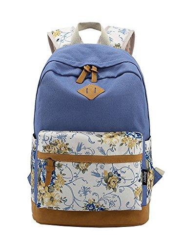 INAEONG Donne Casuale Preppy Stile Stampa Patterns Zaini Viaggiare Borse Blu