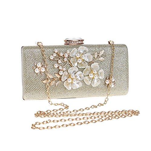 LOUHH Frauen Clutch Bag Handtasche Abend Handtasche Glitter Perle Umhängetasche Für Braut Hochzeit Prom Clubs Damen Geschenk,Gold-18 * 9 * 5cm (Gold Vintage Handtasche)