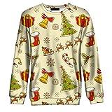 NPRADLA 2018 3D Gedrucked Weihnachten Sweatshirt Damen Herren Herbst Winter Langarm Oansatz Bluse(M/38,Mehrfarbig)