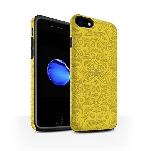 STUFF4 Matte Harten Stoßfest Hülle / Case für Apple iPhone 8 / Rot Muster / Insekten Muster Kollektion Gelb