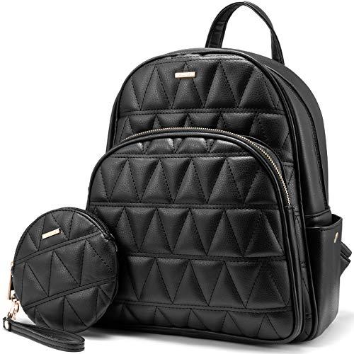 LOVEVOOK Rucksack Damen Elegant, Klein Damen Rucksack Daypack Kunstleder, Elegant Rucksäcke für Damen mit 1 Kleinen Handtasche-Schwarz -