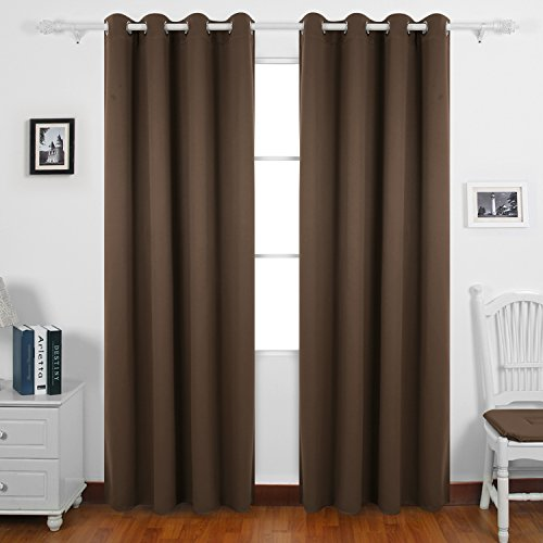 Deconovo Soft Solid Plain Thermal Insulated Top Grommet Blackout Curtains For Living Room Including Two Matching Ties90x90Drop229x229cm 2 Panels