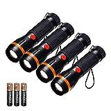 Fulighture - Juego de 4 linternas LED estándar mini linternas con zoom, 2 modos de 70 lúmenes,...