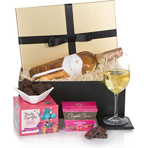 Luxus-Geschenkkorb für Sie - Das perfekte Geschenk für die Frau, die schon alles hat - Roséwein, Schokoladen-Pralinés und vieles mehr