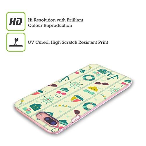 Head Case Designs Rosa E Verde Estate Nautica Cover Retro Rigida per Apple iPhone X Verde E Azzurro