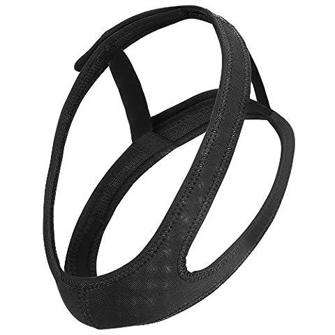 Plemo Anti-Ronflement Dispositif Mentonnière pour Sommeil, Doux avec Fermeture Velcro Réglable, Noir