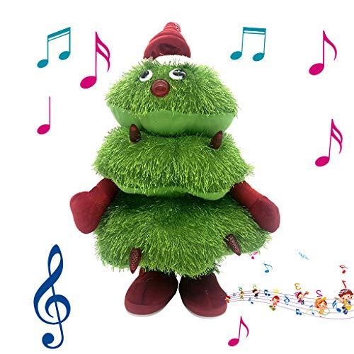 HSKB Weihnachtsbaum Tannenbaum Christbaum Singend Tanzend Weihnachts Deko Singender Tanzender Weihnachten mit Sound & Bewegung Figur Plüschtier/Weihnachtsmann (40x23cm)