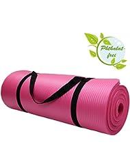 Esterilla colchoneta –de yoga –HARMONY 180 cm x 60 cm x 1.5 cm para fitness deportiva pilates gimnasia ejercicio, Color:Charming Pink