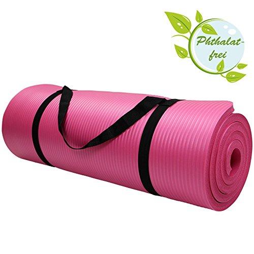 Tappetino da yoga HARMONY 180 cm x 60 cm x 1.5 cm materassino da pilates, ginnastica, sport fitness fisio, morbido, Colore:Charming Pink