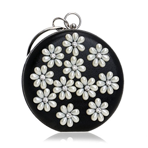 FZHLY Dinner-Handtasche Elegante Dame Pearl Flower Abendtasche Black