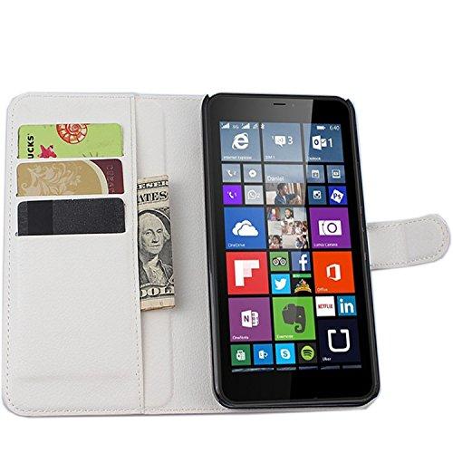Tasche für Nokia Microsoft Lumia 640 XL Dual-SIM Hülle, Ycloud PU Ledertasche Flip Cover Wallet Case Handyhülle mit Stand Function Credit Card Slots Bookstyle Purse Design weiß