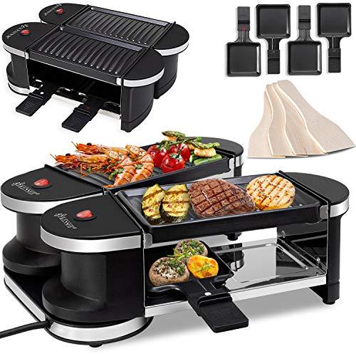 KESSER® 2in1 Raclette - Tischgrill, Grill Partygrill, für 4 Personen 2x Alu-Grillplatte,360° Gelenk, Leistung: 600 Watt, 4 Pfannen und Holzspatel,
