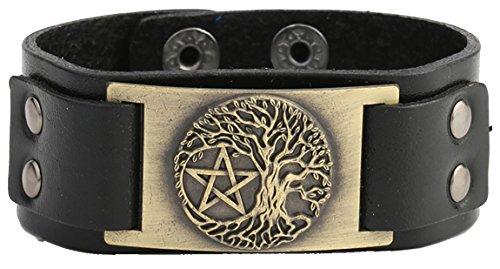 Armbänder Charms Religiöse Für (lemegeton Wicca Vintage Zubehör Charm Tree of Life Yggdrasil Pentagramm-Dark Braun Leder Armbänder)
