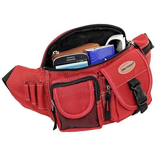 Geschenkset - exklusiver Greenland Nature Schlüsselanhänger + Herren & Damen Bag Gürteltasche Bauchtasche Angeltasche Wimmerl Tasche Farbe schwarz rot