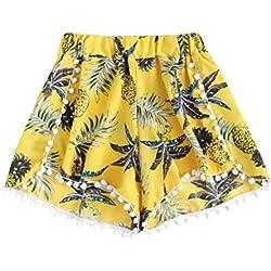 QinMM Pantalones cortos piña suelto elástico para mujer, leggings verano floral de yoga ejercicio running pantalón (Amarillo, S)