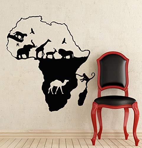 Safari afrikanischen Stil Tier Silhouette mit Afrika Karte Kunst Design Wandtattoo LivIngroom moderne Dekoration Vinyl Aufkleber