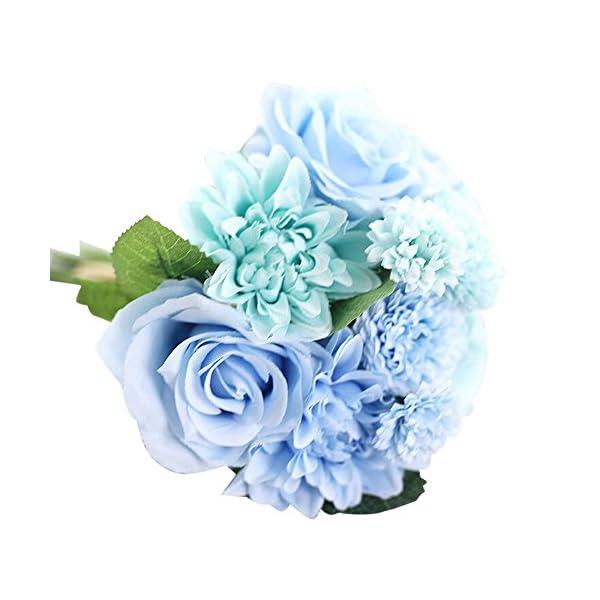 Seda Artificial Flor Artificial dalia Rosa Flores Falsas hoja Rosa Floral boda Ramo Decoración del Hogar del Partido…