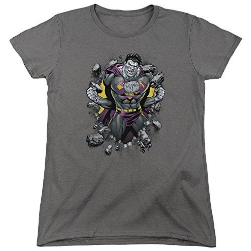 Superman Frauen Bizzaro Durchbruch T-Shirt, Large, Charcoal