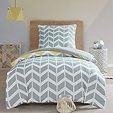 SCM Bettwäsche 135x200cm Grau Gelb Mikrofaser 2-teilig Bettbezug & Kissenbezug 80x80cm Geometrisch Chevron Nadia Ideal für Schlafzimmer