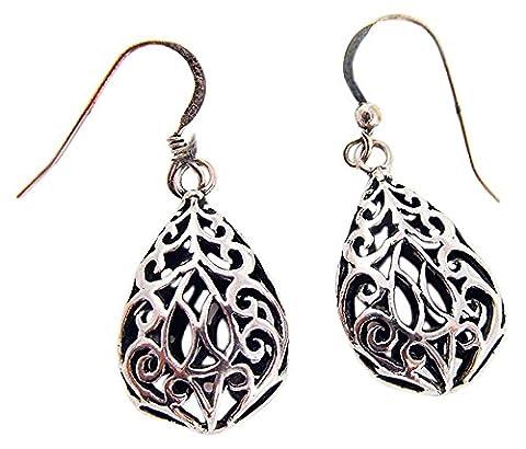Fashion Earrings for Women 925 Sterling Silver Filigree Pear Dangle Earrings