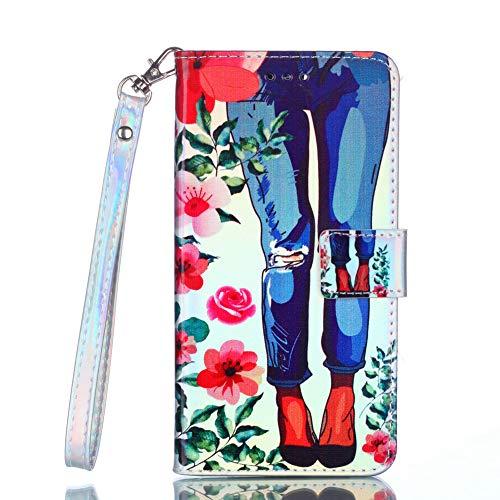 Coopay Schutzhülle für Samsung Galaxy S6 Edge,Ledertasche Blau Licht Jeans Damen Rot Blumen Brieftasche Wallet Case Cover Handytasche Handyhülle,Ständer Kartenfach Lederhülle Klapphülle Klappetui (Blaue Blume-lichter)