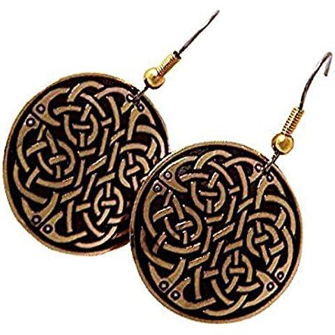 Handcrafted ottone inciso, Celtic Knot, Moda rotonda ciondola gli orecchini, Simboleggia Eternity