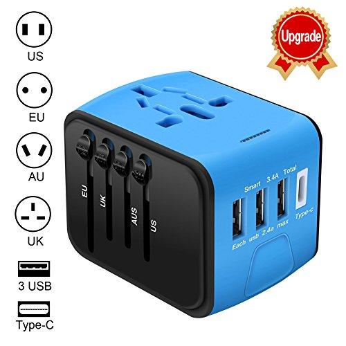 Adaptador Enchufe de Viaje Universal Enchufe Adaptador Internacional con 3 Puertos USB...