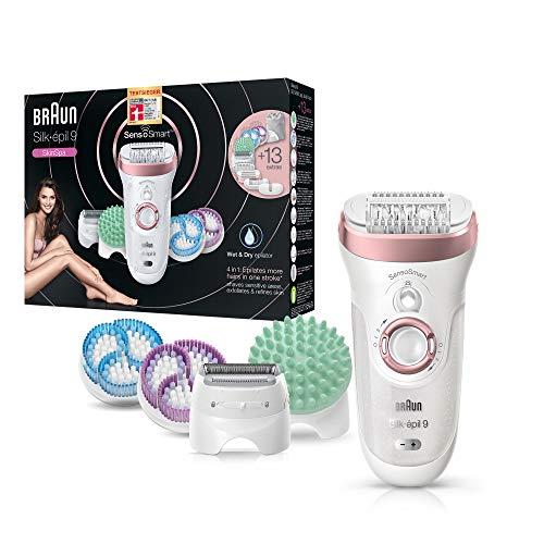 Braun Silk-épil 9 9/990 SkinSpa Depiladora Mujer Eléctrica Inalámbrica 4 en 1 con SensoSmart y Sistema de Depilación, Exfoliación y Cuidado de la piel, Wet & Dry con 13 Accesorios, Color Oro Rosa