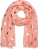 styleBREAKER unifarbener Schal mit Metallic Punkte Muster, Fransen, Tuch, Damen 01016147, Farbe:Koralle