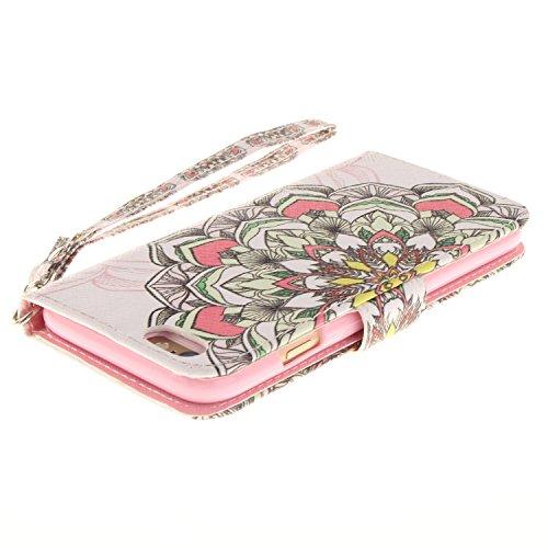 Voguecase® für Apple iPhone SE hülle,(Katzenbär 03) Kunstleder Tasche PU Schutzhülle Tasche Leder Brieftasche Hülle Case Cover + Gratis Universal Eingabestift Bunt Blumen 13