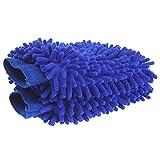 Car cleaning gloves Doppelseitige Chenille-Reinigungshandschuhe/Mehrzweckhandschuhe Staub-Reinigung/Kfz-Zubehör Blau 2 Stück