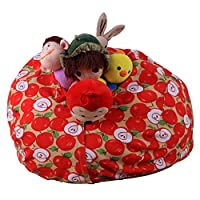 DIKEWANG Creative Large Capacity Kids Stuffed Animal Plush Toy Storage Bean Bag Soft Pouch Stripe Fabric Chair, Filled With Plush Toys,Clothing,Blankets, For Children To Enjoy The Storage Process (F)