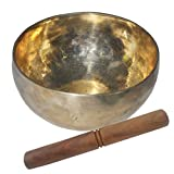 Prisha India Best Quality Singing Bowl Musical Instrument Golden for Meditation 18.03 cm