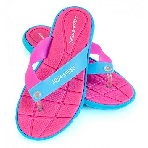 Aqua speed–Pattine per scarpe/sandali da spiaggia da donna Rosa/Bianco