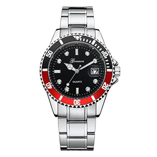 Keepwin Herren Damen Geschäft Uhren Mode Wasserdicht Digitaler Kalender Analoge Quarzuhr Edelstahl Zahnradform-Zifferblatt Armbanduhr (Rot)