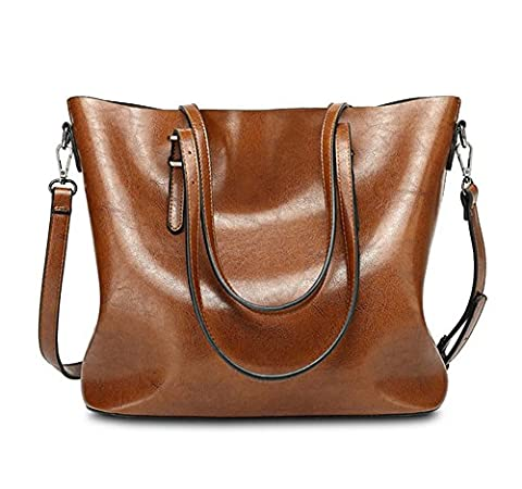 YAAGLE Vintage Waterproof Oil Wax PU Leather Large Capacity Shoulder Bag Totes for Ladies Girls