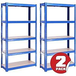 G-Rack 2étagères de Rangement «Blue5Tier», 150cmx75cmx30cm (175kgparétagère), capacité de 875kg pour l'entreposage dans Un Garage
